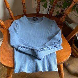 Topshop blue long sleeve crop top
